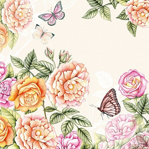 A pack of 12 by 12 inch German Decoupage Napkins (5 pcs)  - Botanical Garden with Cream Background