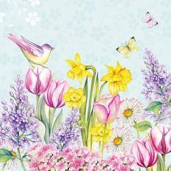 German Decoupage Napkins (5 pcs)  - Blooming Garden Blue