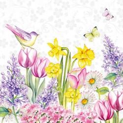German Decoupage Napkins (5 pcs)  - Blooming Garden White