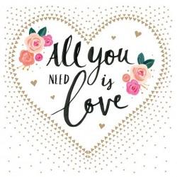 German Decoupage Napkins (5 pcs)  - All you need is Love