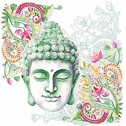 German Decoupage Napkins (5 pcs)  - Buddha Headstone Green
