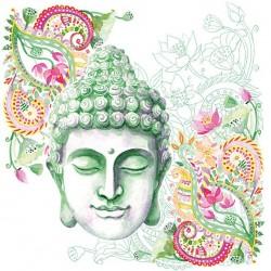 German Decoupage Napkins (5 pcs)  - Buddha Headstone Green