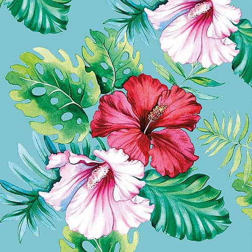 German Decoupage Napkins (5 pcs)  - HIbiscus Flower Blue
