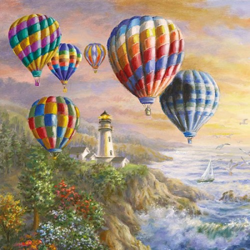 German Decoupage Napkins (5 pcs)  - Hot Air Balloons