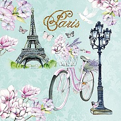 German Decoupage Napkins (5 pcs)  - Bike in Paris