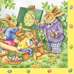 German Decoupage Napkins (5 pcs)  - Rabbit School Scene