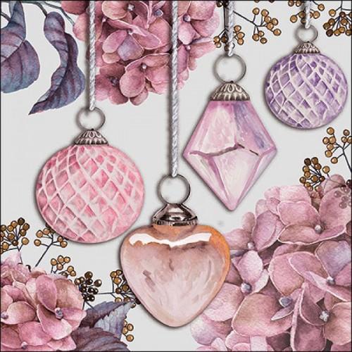 German Decoupage Napkins (5 pcs)  - Hanging Baubles Rose