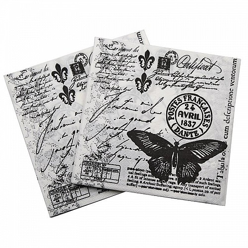 A pack of 12 by 12 inch Decoupage Napkins(5 pcs)  - Vintage Writing / Script
