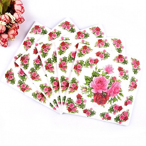 A pack of 12 by 12 inch Decoupage Napkins(5 pcs)  - Cluster of Roses