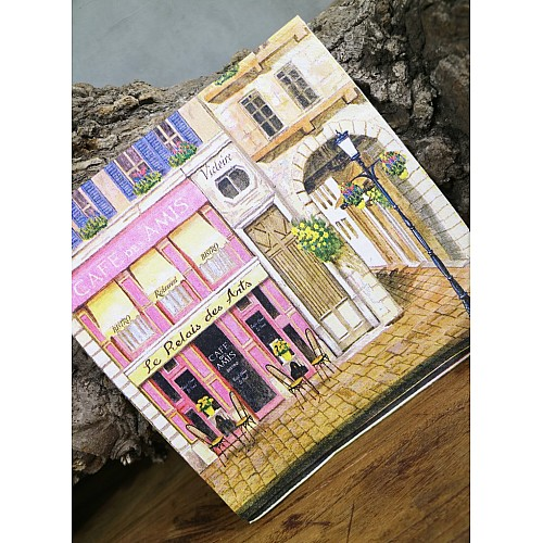 A pack of 13 by 13 inch Decoupage Napkins(5 pcs)  - French Cafe