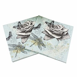 A pack of 12 by 12 inch Decoupage Napkins(5 pcs)  - Vintage Roses