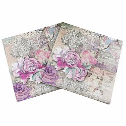A pack of 12 by 12 inch Decoupage Napkins(5 pcs)  - Watercolor Roses