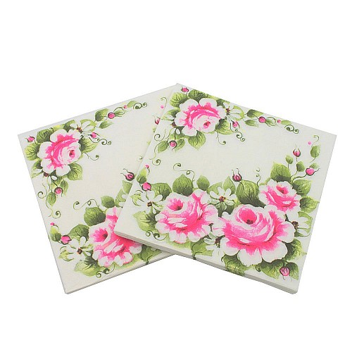 A pack of 12 by 12 inch Decoupage Napkins(5 pcs)  - Pink Florals