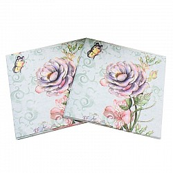 A pack of 12 by 12 inch Decoupage Napkins(5 pcs)  - Vintage Flower