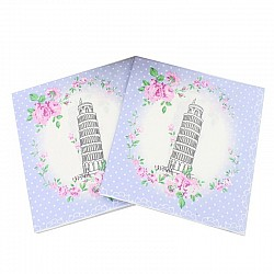 A pack of 12 by 12 inch Decoupage Napkins(5 pcs)  - Floral Leaning Tower of Pisa