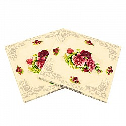A pack of 12 by 12 inch Decoupage Napkins(5 pcs)  - Red and Pink Florals