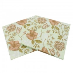 A pack of 12 by 12 inch Decoupage Napkins(5 pcs)  - Peach flowers with Light green background