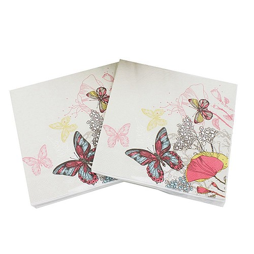 A pack of 12 by 12 inch Decoupage Napkins(5 pcs)  - Doodled butterflies and Flowers