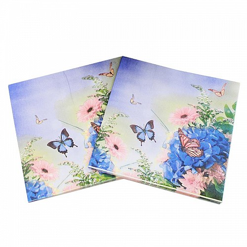 A pack of 12 by 12 inch Decoupage Napkins(5 pcs)  - Blue flowers
