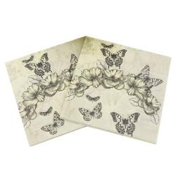 A pack of 12 by 12 inch Decoupage Napkins(5 pcs)  - Vintage Florals