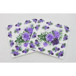 A pack of 12 by 12 inch Decoupage Napkins(5 pcs)  - Cluster of Roses (Purple)