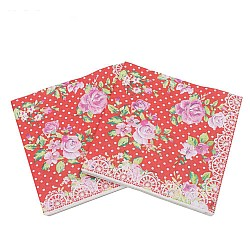 A pack of 12 by 12 inch Decoupage Napkins(5 pcs)  - Florals with Polka dot Background (Red)