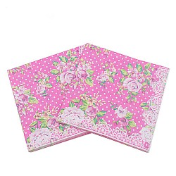 A pack of 12 by 12 inch Decoupage Napkins(5 pcs)  - Florals with Polka dot Background (Pink)