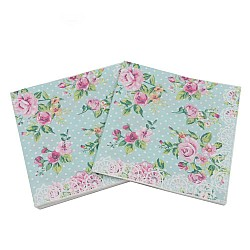 A pack of 12 by 12 inch Decoupage Napkins(5 pcs)  - Florals with Polka dot Background (Blue)