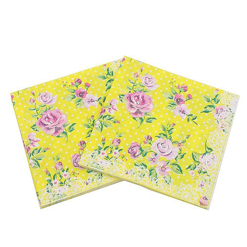A pack of 12 by 12 inch Decoupage Napkins(5 pcs)  - Florals with Polka dot Background (Yellow)