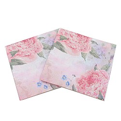 A pack of 12 by 12 inch Decoupage Napkins(5 pcs)  - Large Pink flowers