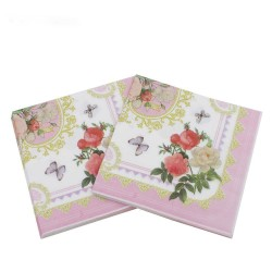 A pack of 12 by 12 inch Decoupage Napkins(5 pcs)  - Framed Florals