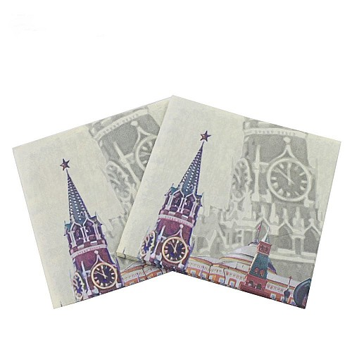 A pack of 12 by 12 inch Decoupage Napkins(5 pcs)  - Vintage Buildings