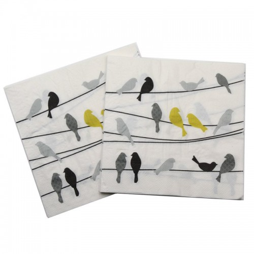A pack of 12 by 12 inch Decoupage Napkins(5 pcs)  - Birds on String