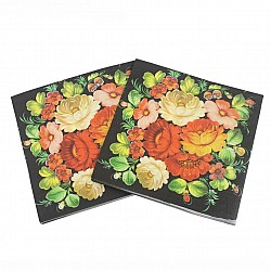 A pack of 12 by 12 inch Decoupage Napkins(5 pcs)  - Red flowers on black background