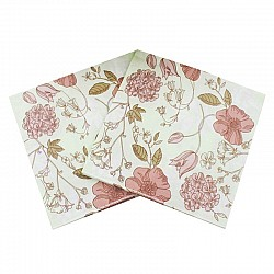 A pack of 12 by 12 inch Decoupage Napkins(5 pcs)  - Flowers on mint background