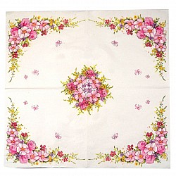 A pack of 12 by 12 inch Decoupage Napkins(5 pcs)  - Floral Edges