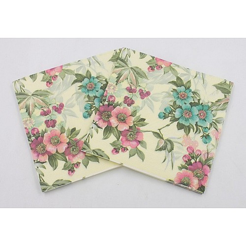 A pack of 12 by 12 inch Decoupage Napkins(5 pcs)  - Florals with Cream background