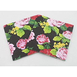 A pack of 12 by 12 inch Decoupage Napkins(5 pcs)  - Flowers on Black background