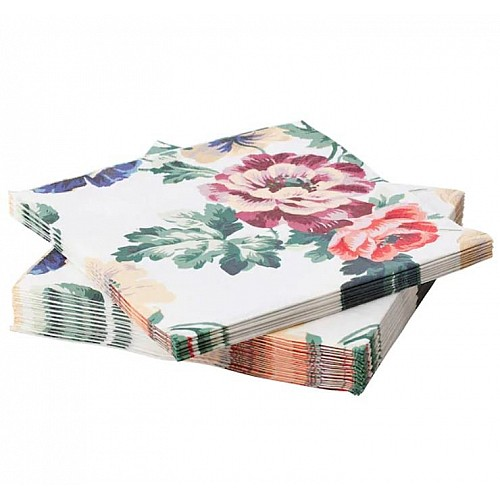 A pack of 12 by 12 inch Decoupage Napkins (5 pcs)  - Flowers