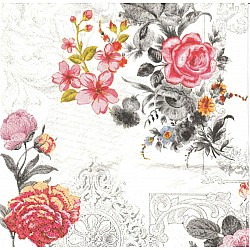 A pack of 12 by 12 inch Decoupage Napkins(5 pcs)  - Red Florals