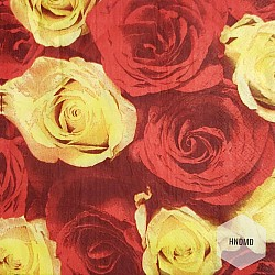 A pack of 12 by 12 inch Decoupage Napkins(5 pcs)  - Red and Yellow Roses
