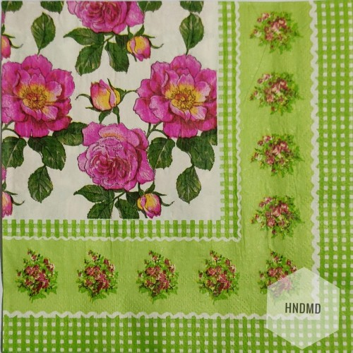 A pack of 12 by 12 inch Decoupage Napkins(5 pcs)  - Flowers with Green border