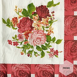 A pack of 12 by 12 inch Decoupage Napkins(5 pcs)  - Flowers with Red border