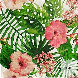 A pack of 12 by 12 inch Decoupage Napkins(5 pcs)  - Tropical Flowers