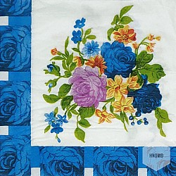 A pack of 12 by 12 inch Decoupage Napkins(5 pcs)  - Flowers with blue border