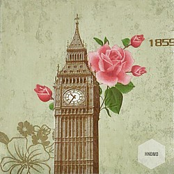 A pack of 12 by 12 inch Decoupage Napkins(5 pcs)  - Big Ben Tower