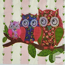 A pack of 12 by 12 inch Decoupage Napkins(5 pcs)  - Owls