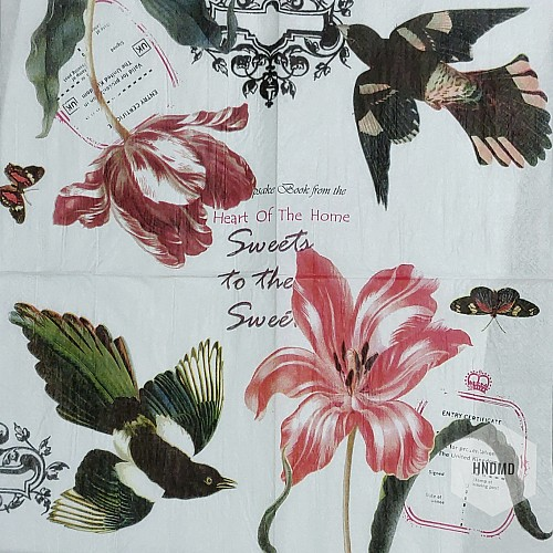 A pack of 12 by 12 inch Decoupage Napkins(5 pcs)  - Vintage flowers and birds