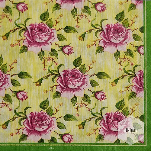 A pack of 12 by 12 inch Decoupage Napkins(5 pcs)  - Roses Background