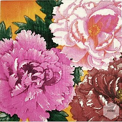 A pack of 12 by 12 inch Decoupage Napkins(5 pcs)  - Bright Flowers